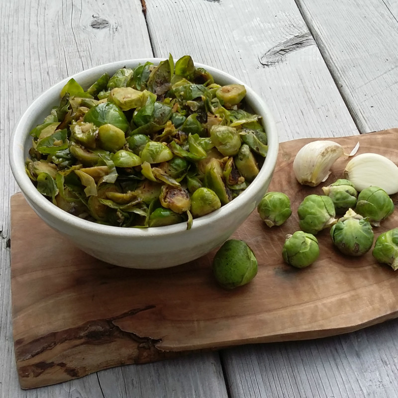 Pan Fried Garlic Brussels Sprouts