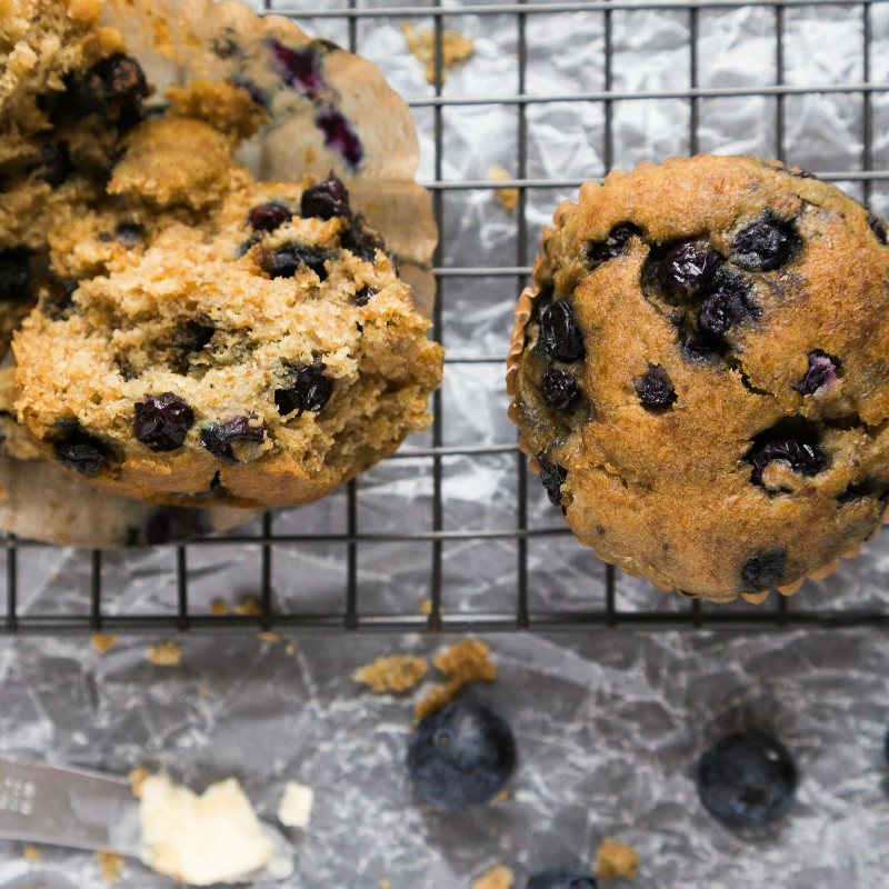 Natural Contents Kitchen Blueberry Muffins - gluten, grain, soy and dairy free, vegan and paleo friendly - made with Bleuet Hill Farm blueberries