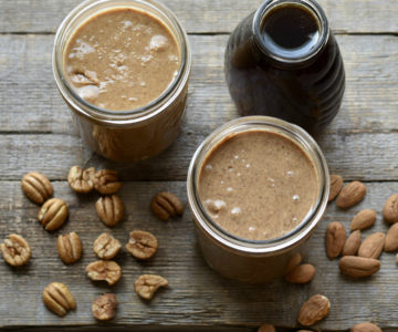Homemade honey-kissed almond and pecan nut butters.
