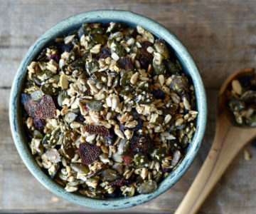 Homemade nut-free trail mix with dried berries.